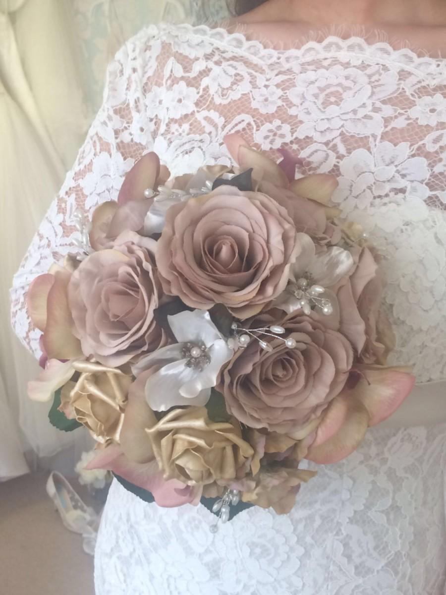 Mariage - Wedding Flowers artificial Silk Brides Bouquet with Matching Hair Slide