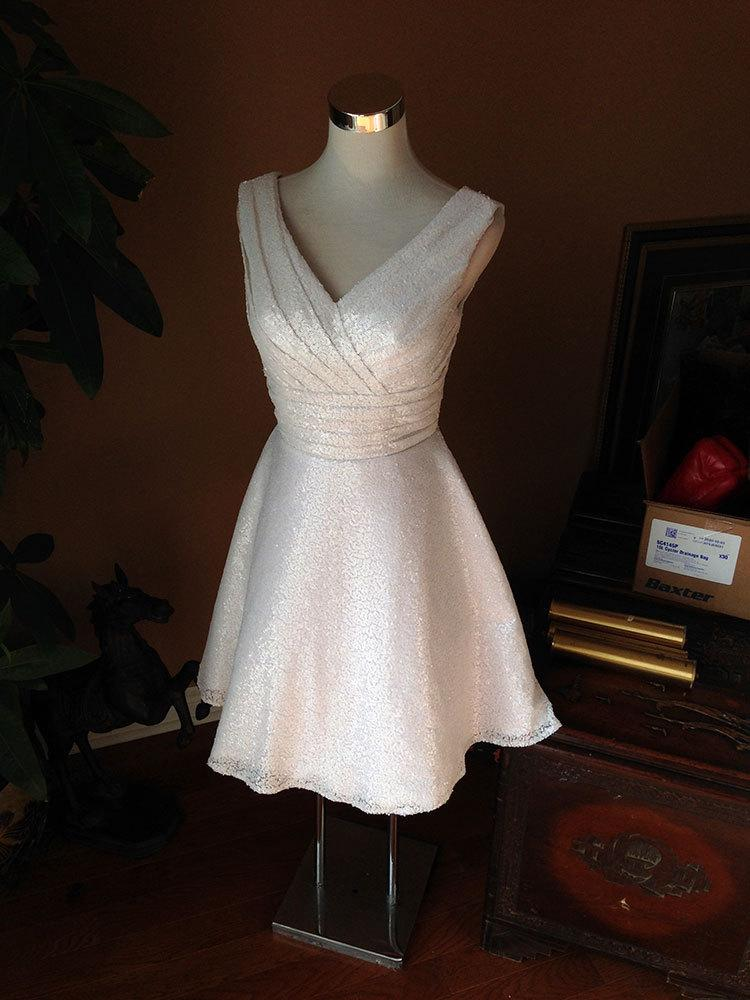 Wedding - White sequin bridesmaid dress, sequin short wedding dress, short prom dress