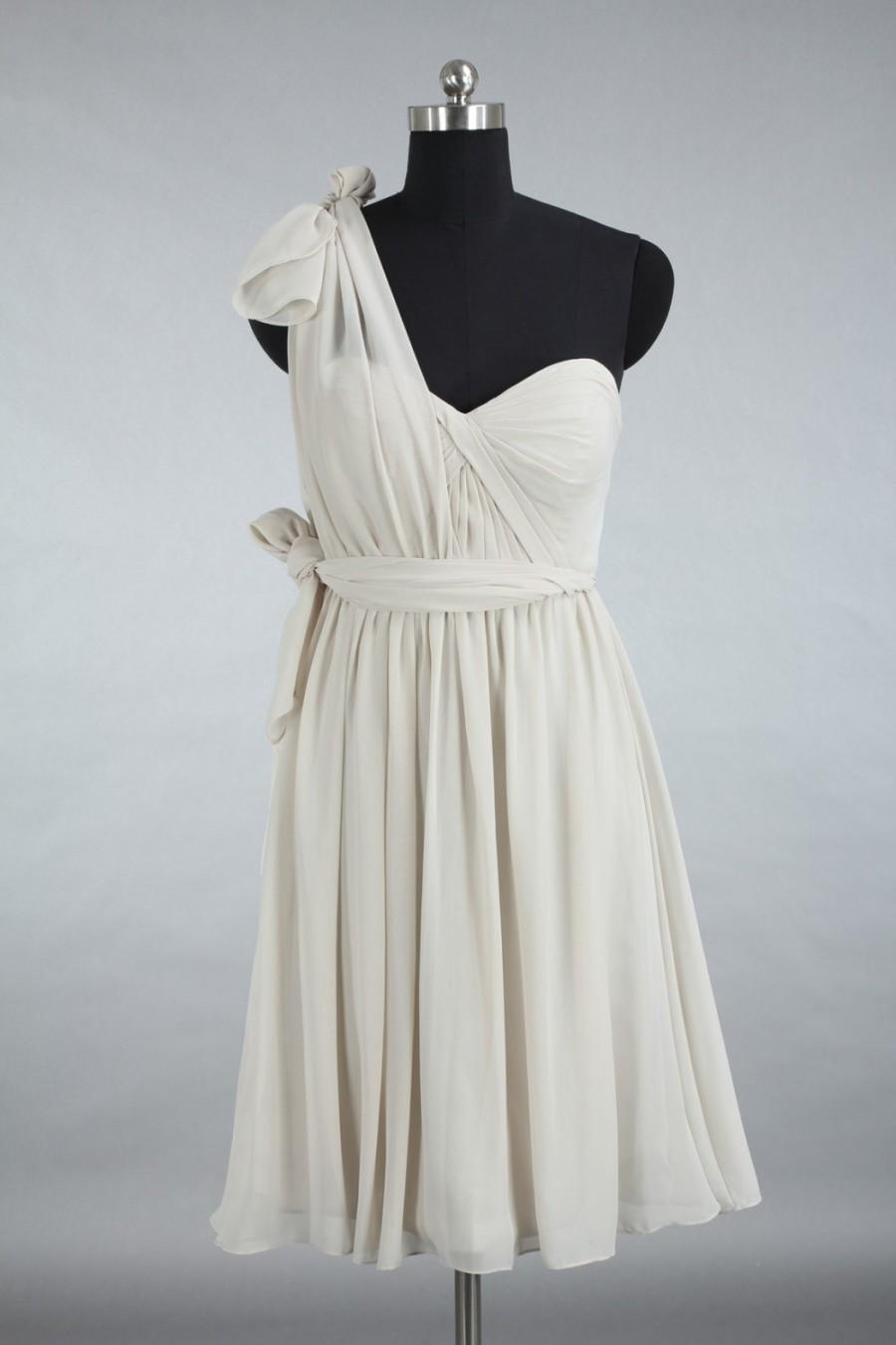 Свадьба - Custom Grey Convertible Bridesmaid Dress, Junior Bridesmaid Dress, Short Chiffon Bridesmaid Dress