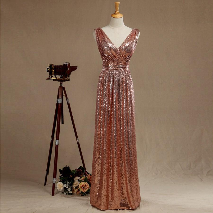 2016 Rose Gold Bridesmaid Dress Long Sequin Wedding Prom Metallic Sparkle Evening V Neck Back Luxury Full Length