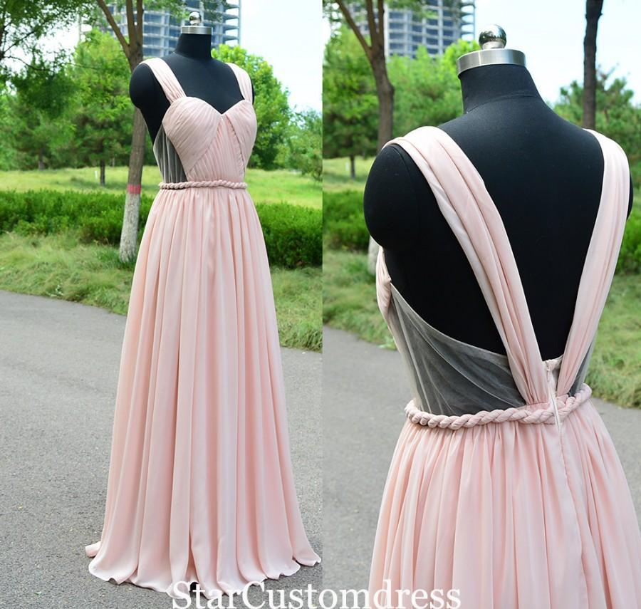 Свадьба - Long Chiffon Bridesmaid Dresses Long Pearl Pink Convertible Dress open back Floor Length Dress