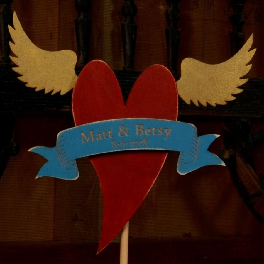 Mariage - Wedding Cake Topper - Winged Heart w CUSTOM MESSAGE  - assorted color banners and fonts available