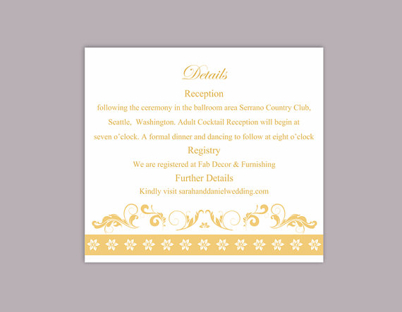 Свадьба - DIY Wedding Details Card Template Editable Text Word File Download Printable Details Card Yellow Gold Details Card Elegant Enclosure Cards