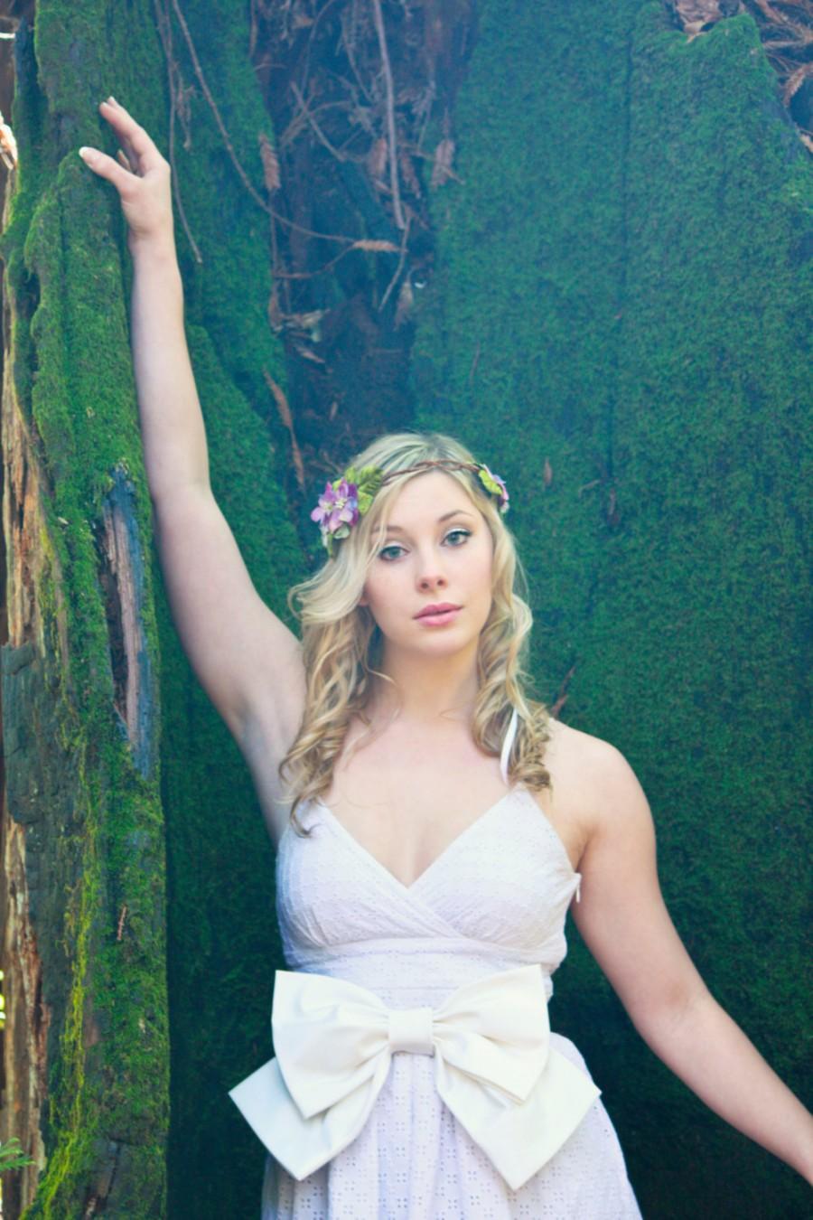 Свадьба - velvet flower crown, purple flower headpiece, flower headband, flower for hair, autumn fall headband