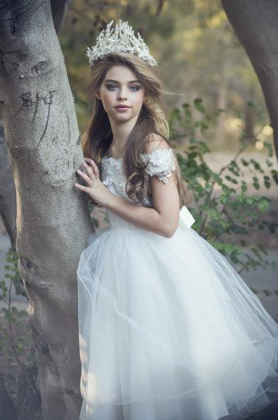e31849525f7 Flower Girl Dress in Ivory or White with Satin Bodice and Tulle Skirt Floral  embroidered flower girl dress off shoulder gown First Communion