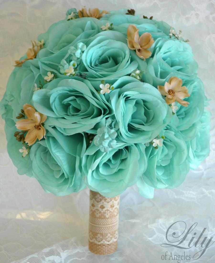 Bridal bouquets wedding 17 piece package silk flowers bouquet pool bridal bouquets wedding 17 piece package silk flowers bouquet pool robins egg blue sea foam tan rustic lace burlap lily of angeles tibe01 izmirmasajfo