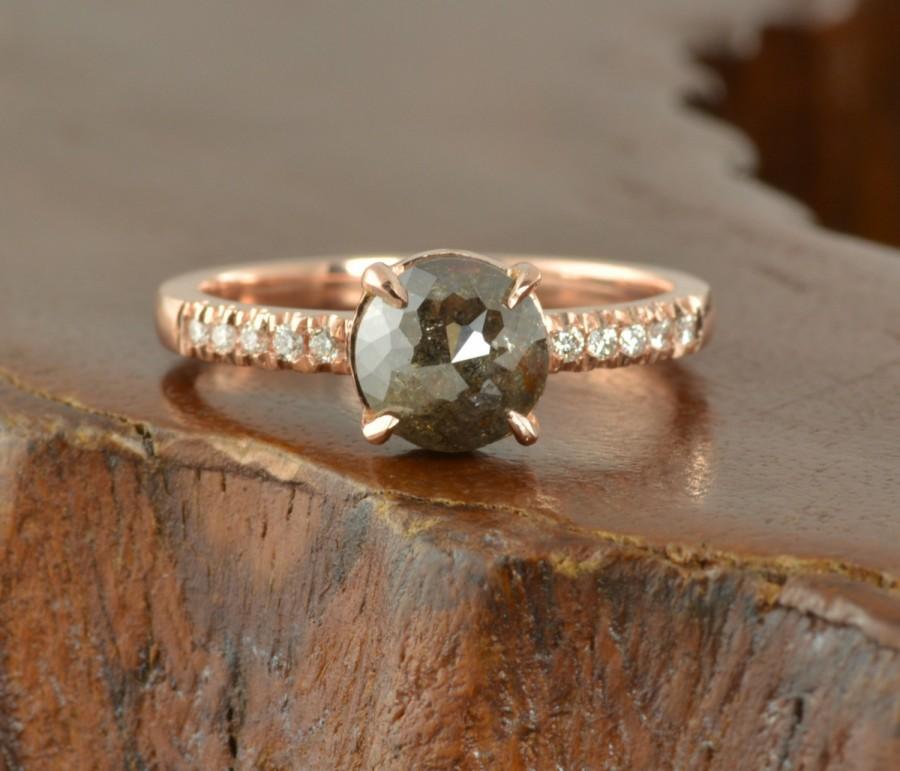 Mariage - Black Diamond 14k Rose Gold Engagement Ring