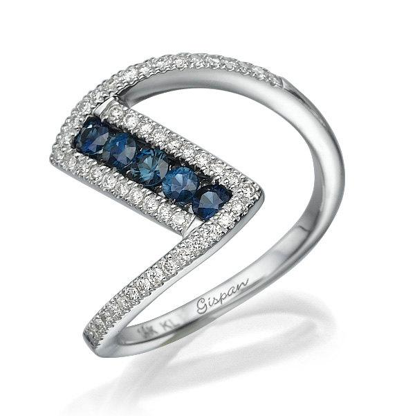 Wedding - Unique Engagement Ring, Wedding Ring, Cocktail Ring, Blue Sapphire Ring, Gem Ring, Sapphire Ring, Diamond Ring, Promise Ring, Gift