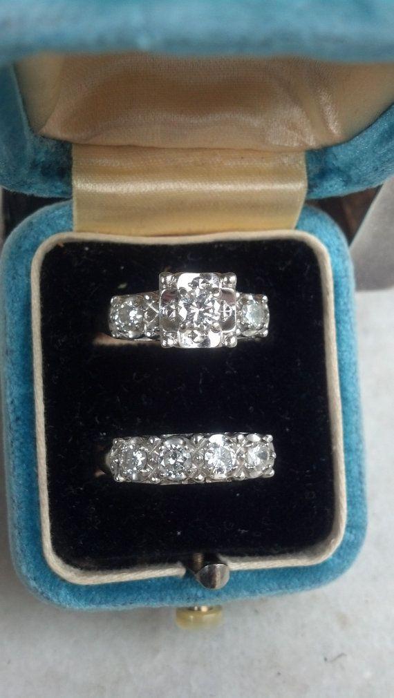 Свадьба - Great 1930's Engagement Ring And Wedding Band Set. 14k White Gold & Diamonds
