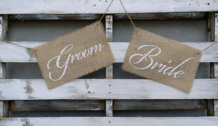 Rustic Bride And Groom Burlap Chair Signs Wedding Decor Photo Prop