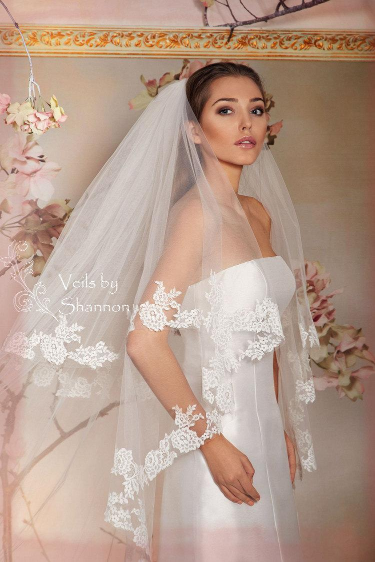 Double Layers Cathedral Drop Veil With Elbow Legnth Blusher Two Tiers Chapel Wedding Lace Bridal Long Tulle Veils Style V15c