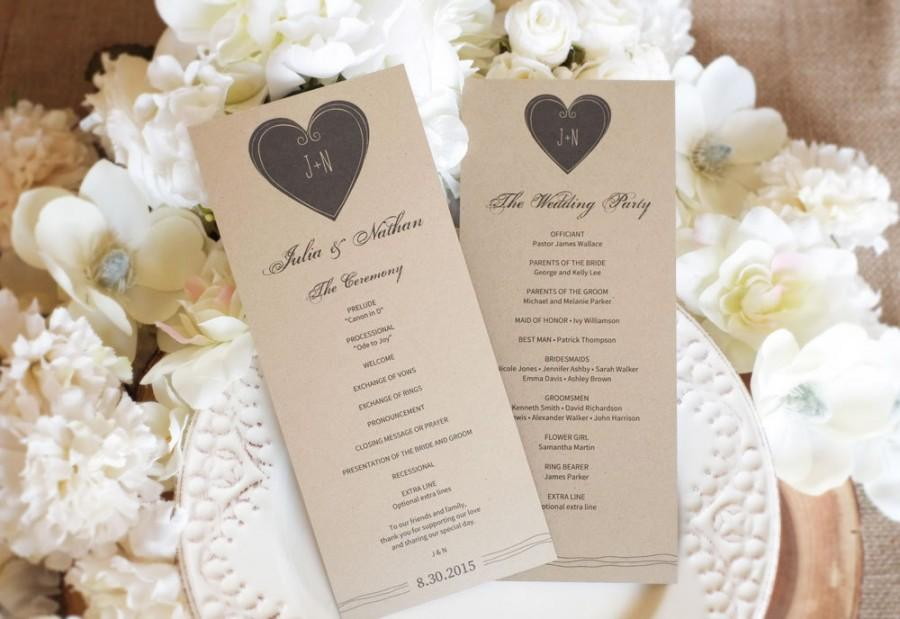 Mariage - Wedding Program Template (Tea Length) - DOWNLOAD Instantly - Editable Text - Modern Heart, 4 x 9.25, PDF