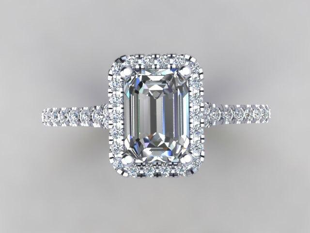 Emerald cut diamond simulate center halo engagement ring 14kt white