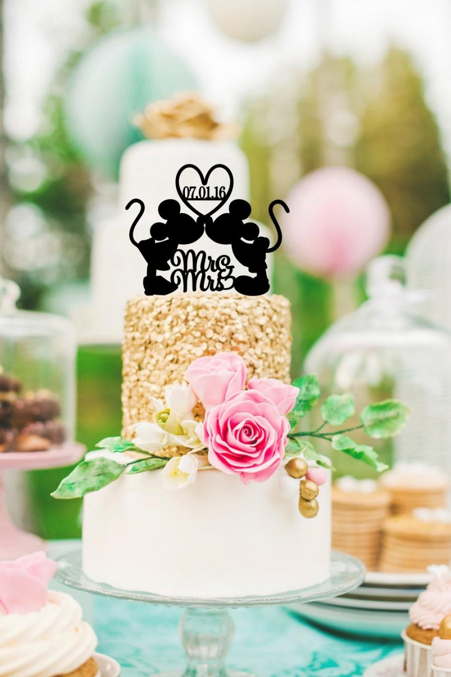 Düğün - Mickey and Minnie Wedding Cake Topper - Personalized Cake Topper with YOUR Wedding Date