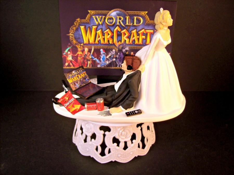 World Of Warcraft Video Bride And Groom Headphones Laptop Computer Wow Funny Wedding Cake Topper