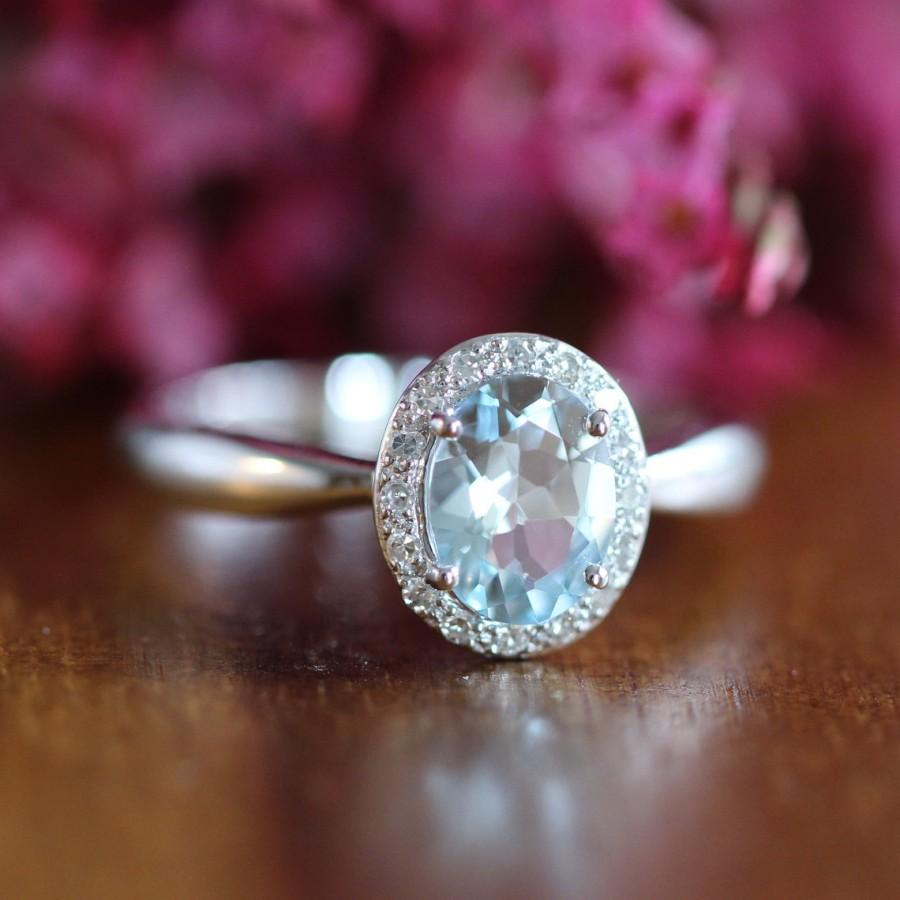 ring in 14k white gold wedding band aquamarine ring gemstone ring