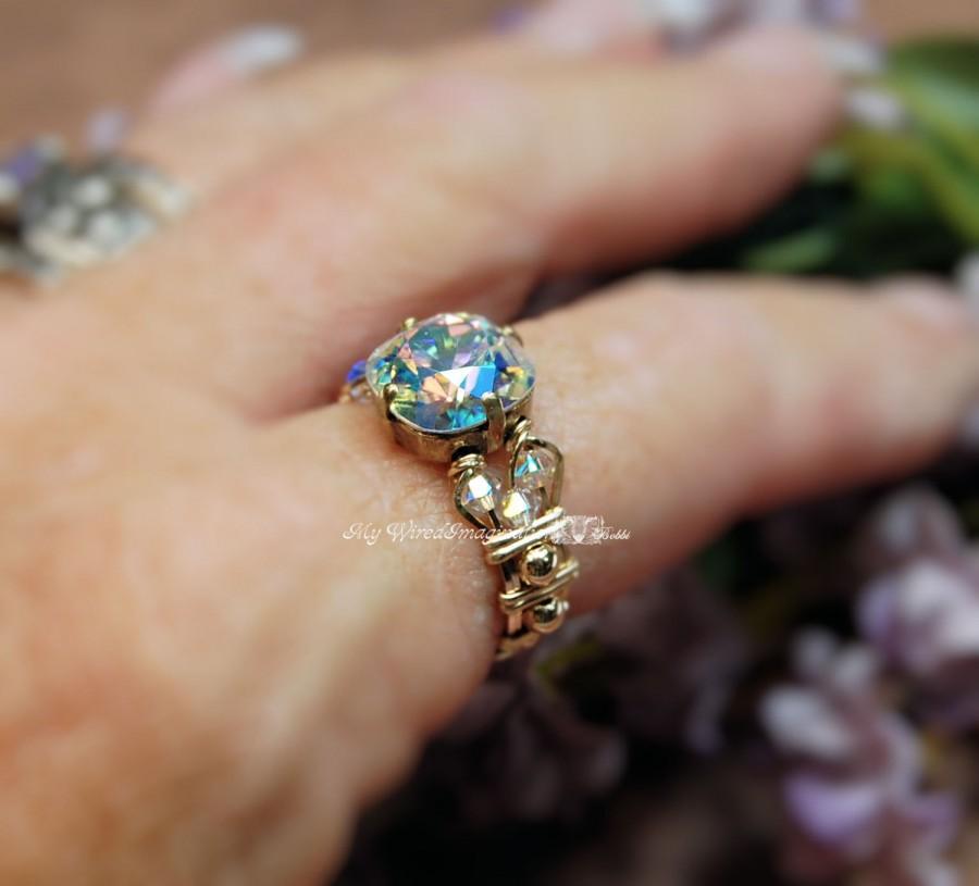 Wedding - Swarovski Crystal AB Hand Crafted Wire Wrapped Ring Original Signature Design Fine Jewelry