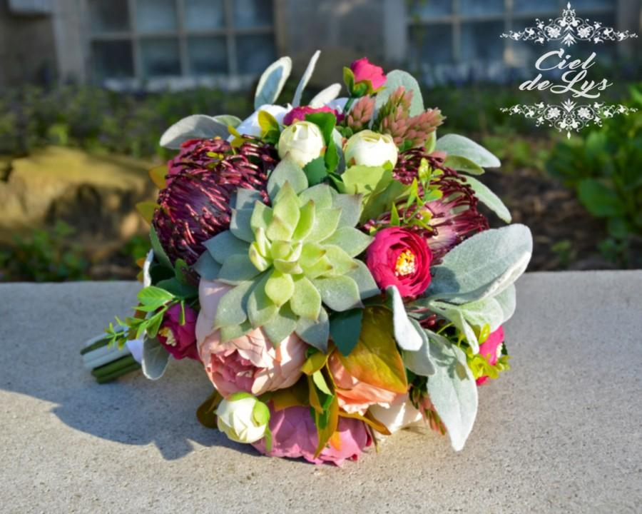Viviane Succulent Wedding Bouquet By Ciel De Lys Plants Peonies Echeveria Realistic Silk Flowers Bridal