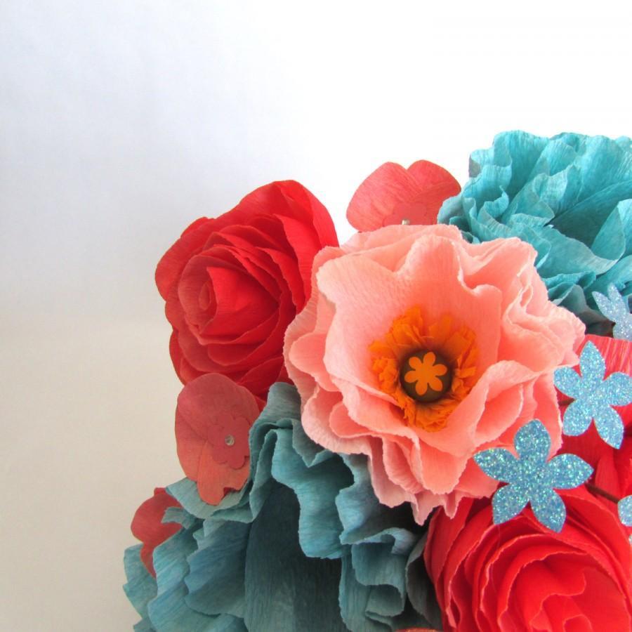 Mariage - Coral & Turquoise Bridal Bouquet, Paper Bouquet, Paper flower bouquet
