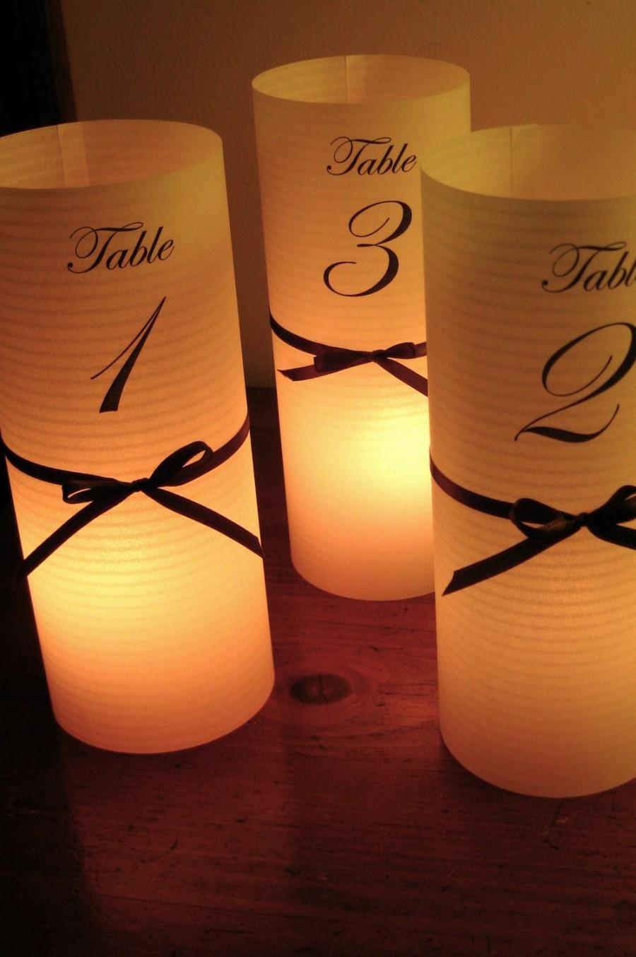 Mariage - 20 Luminaries as table numbers, centerpieces, decoration, lighting, candles, at your wedding, event, or ball