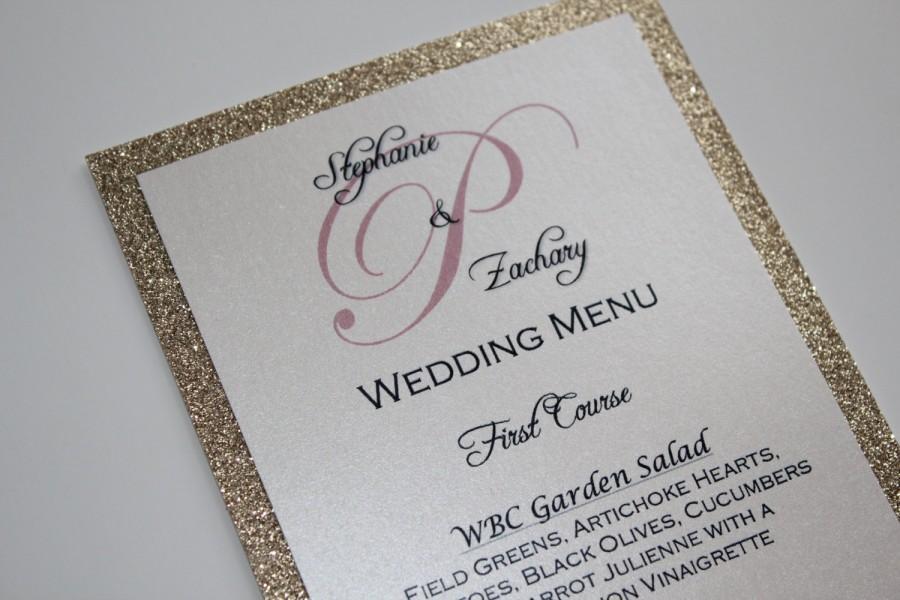 Mariage - Gold Glitter Menu/Wedding/Anniversary Dinner Menu