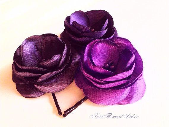 Свадьба - Purple Hair  Flowers Purple Hair Pins Purple Hair Clips Purple Flower Girl Purple Bobby Pins Purple Wedding Radiant Orchid Clip - Set of 3