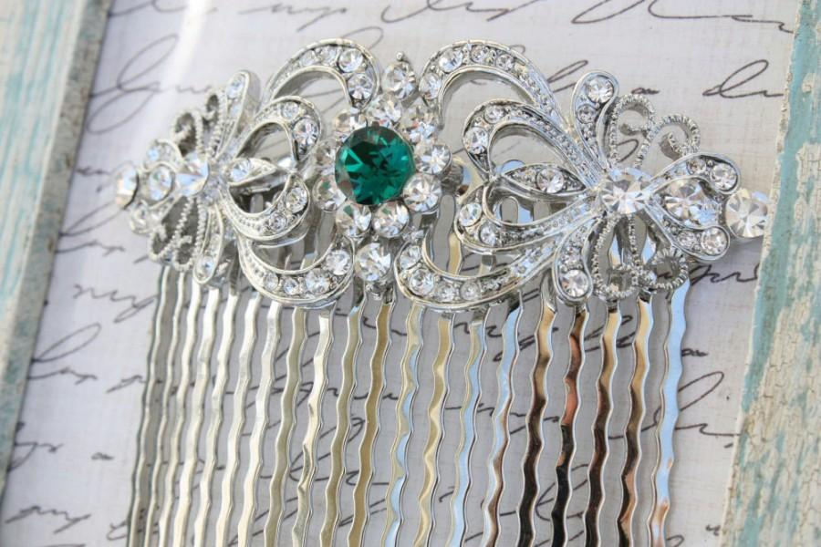 Свадьба - Emerald Hair Comb,Bridal Hair Comb,Green Bridal Sash,Emerald Wedding Jewelry,Green Bridal Jewelry,Wedding,Green Wedding Sash,Green Hair Comb