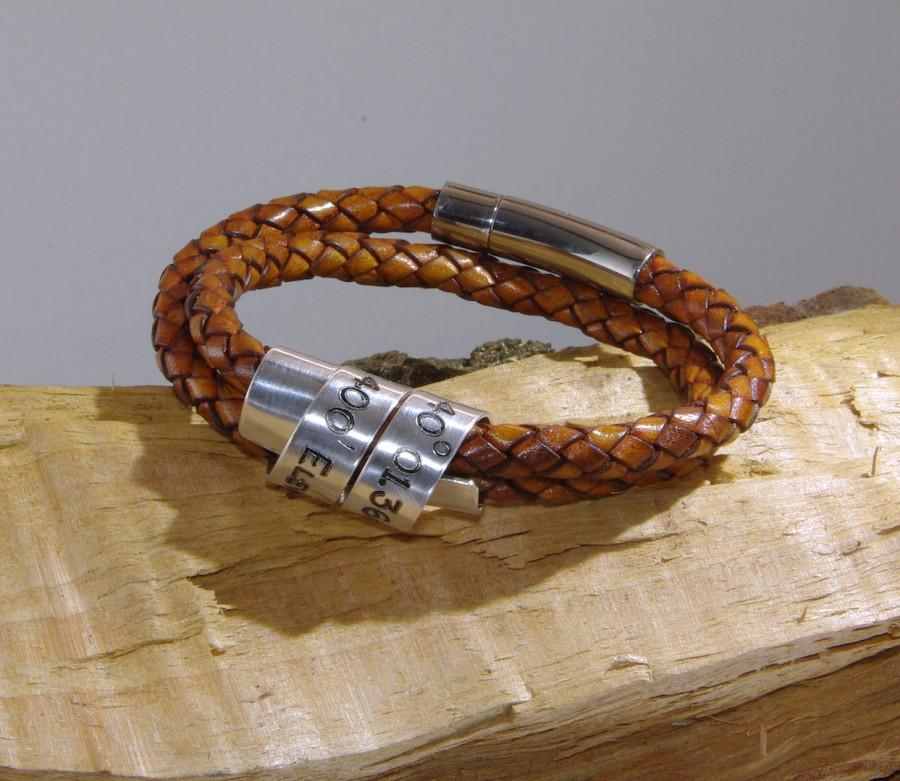 زفاف - Mens Latitude Longitude Bracelet Personalized Leather Bracelet for Men Personalized Mens GPS Latitude Longitude Coordinates Leather Bracelet