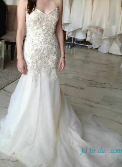 Mariage - H1622 stunning gold beading embroidery memraid wedding dress
