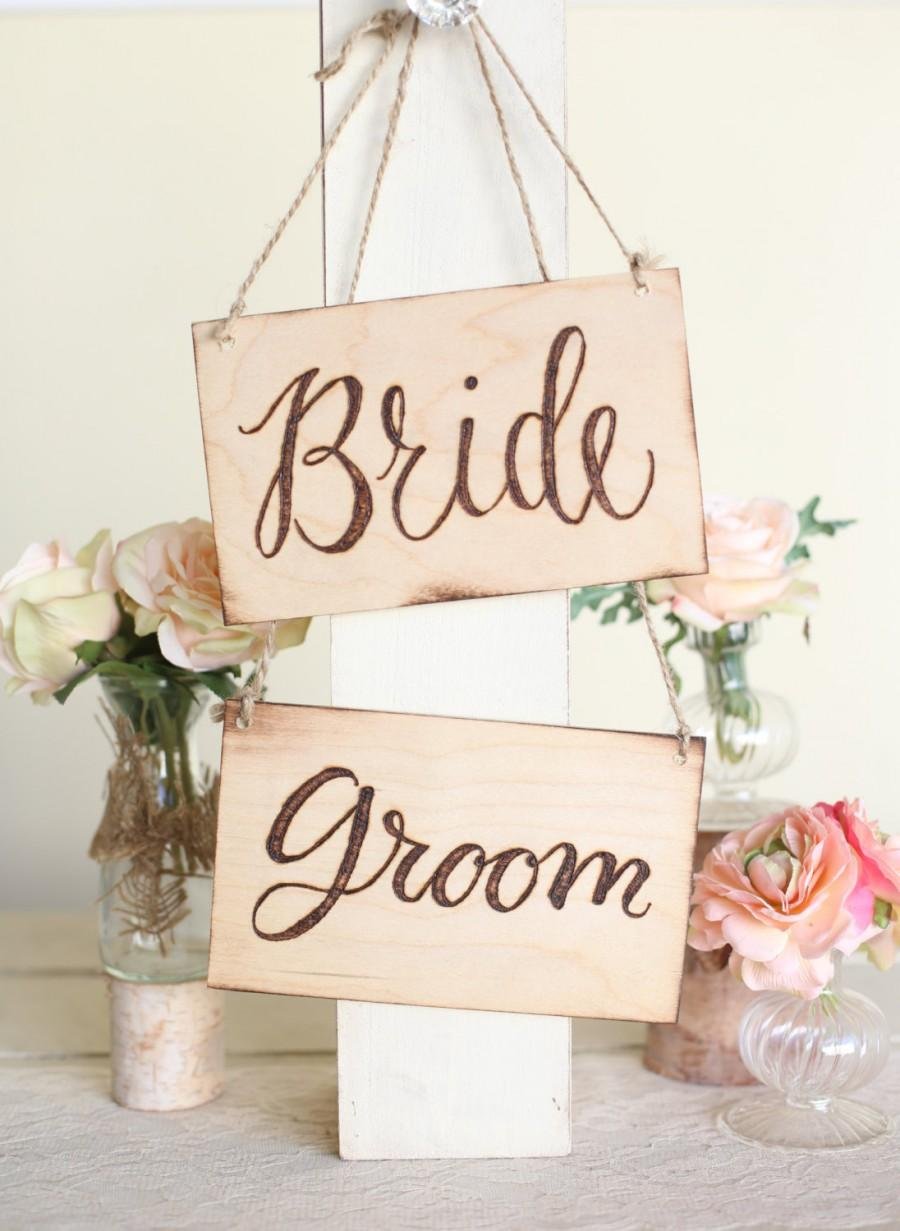 Wedding - Rustic Wood Bride & Groom Chair Signs Calligraphy Country Barn Wedding (Item Number MMHDSR10048)