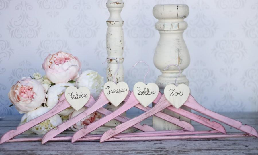 Hochzeit - Personalized Wedding Hangers Rustic Shabby Chic Bridesmaid Gifts SET OF 4 (item P10320)