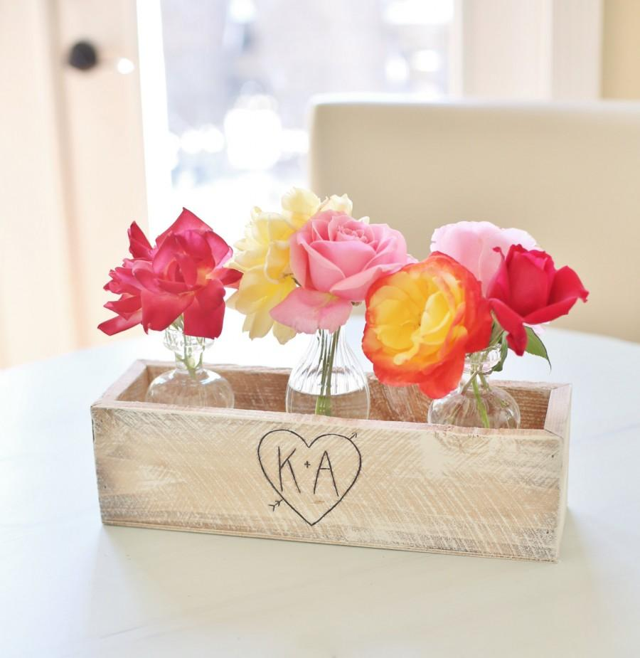 Personalized Planter Box Rustic Chic Wedding Centerpieces Vases Barn ...