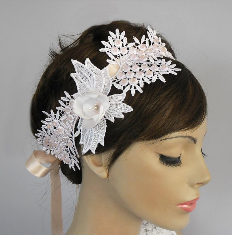 Свадьба - Weddings Hair Fascinator, Bridal Headband, Venetian Lace Applique, Crystal Beads Embroidered. Handmade