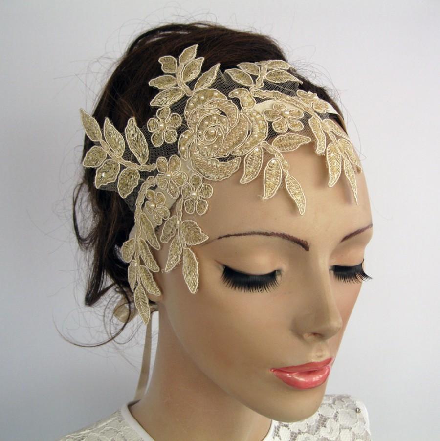 f9ef518f131885 Bridal Fascinator, Bridal Head Piece, Beady Wedding Headband, Venetian Lace  Applique, Cream Beige, Art Deco Glam Modern Romantic Wedding