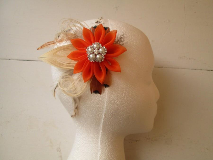 Mariage - Burnt Orange WEDDING Hair Flower Clip, Peacock Feather Fascinator, Rustic-Country-Bridal Hair Flower, Head Piece, Birdcage Veil