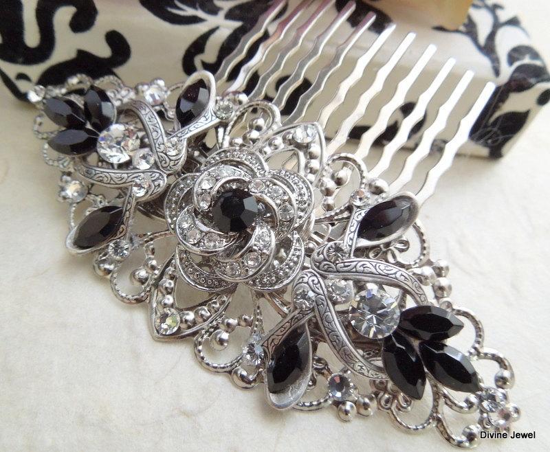 Wedding - Black Hair Comb,Bridal Hair Comb,Bridal Accesory,Head Piece,Statement Hair Comb,Bridal Rhinestone Hair Comb,Crystal Hair Comb,Black,ROSELANI