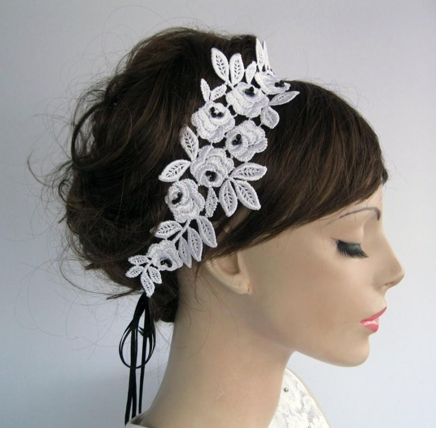 Свадьба - Lace Applique Bridal Ribbon Headband / Weddings Ribbon Sash Belt. Handmade