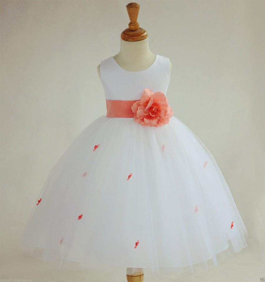 7a3cd845280a Ivory Coral Rosebud Flower girl dress sash pageant wedding bridal recital  tulle bridesmaid toddler sizes 12-18m 2 4 6 8 10 12