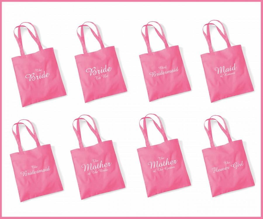 Printed Pink Wedding Party Bridal Tote Bags, Bridesmaid, Favour ...