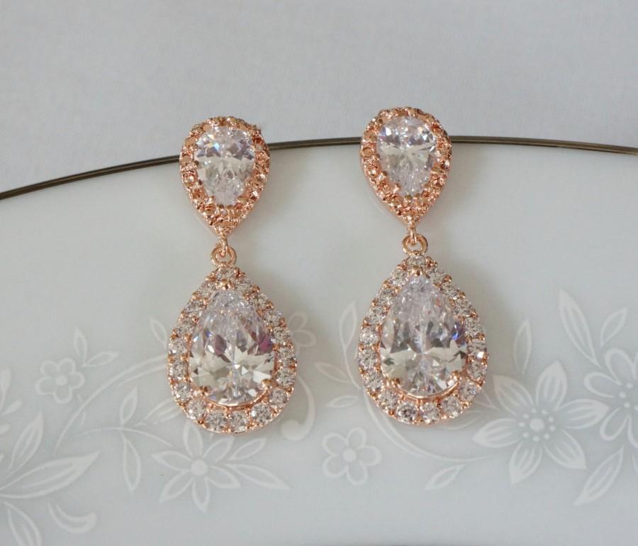 Mariage - Rose Gold Bridal Earrings Wedding Jewelry Bridesmaid Jewelry Wedding Earrings Bridal Jewelry Jewelry Crystal Drop