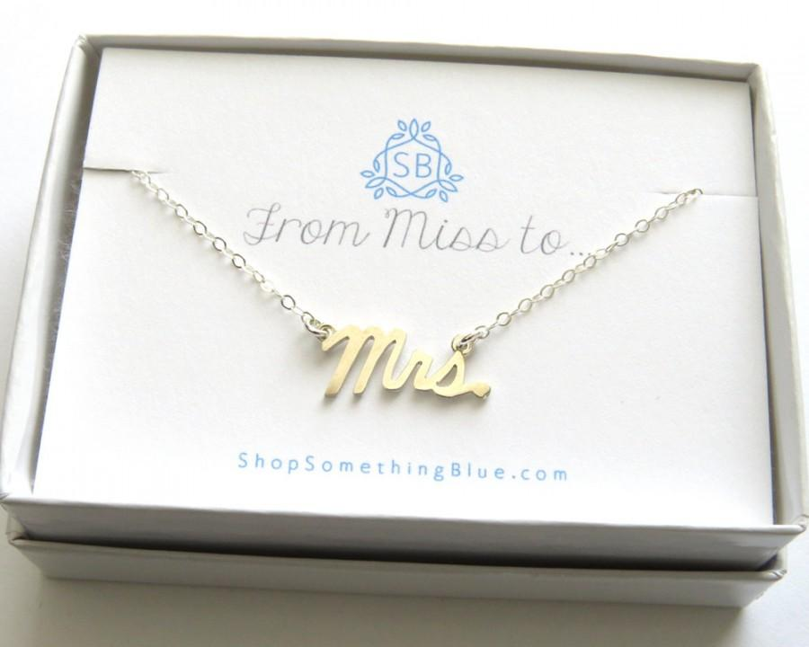 Mrs Script Necklace Sterling Silver Cursive Word Jewelry New Bride Bridal Shower Gift Honeymoon Just Married Sentiment