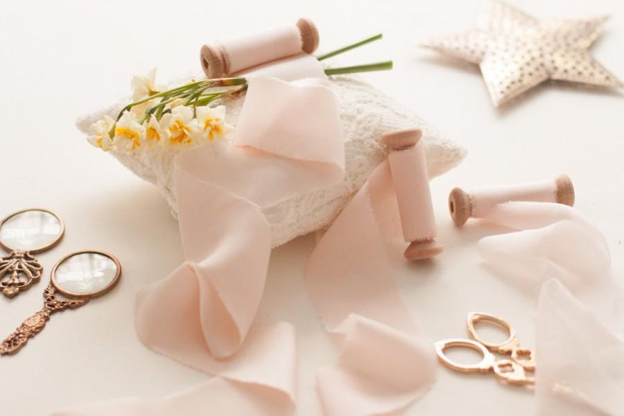 زفاف - Silk Bouquet Ribbon, Blush Bouquet Ribbon, Hand Dyed and Handmade