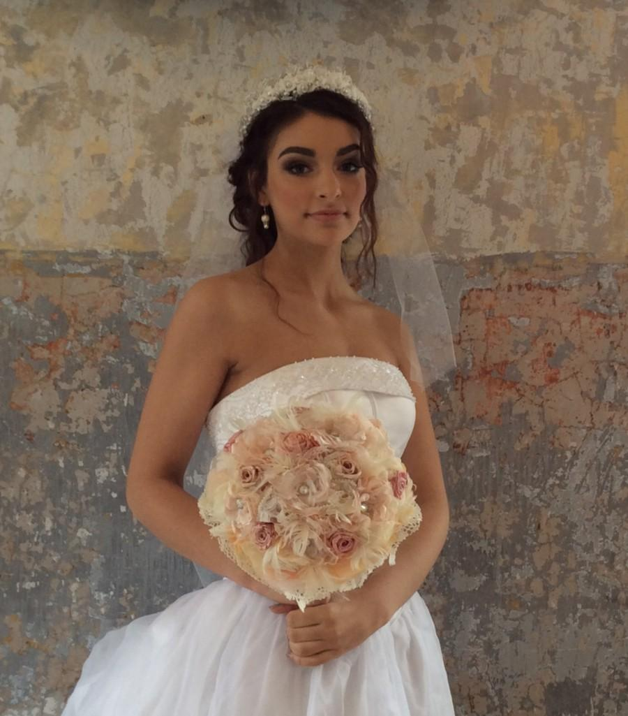 Hochzeit - Blush Vintage Inspired Wedding Bouquet-Bridal Bouquet-Brooch Bouquet-Preserved Roses-Feather Bouquet-Blush Fabric Bouquet-Gatsby Bouquet