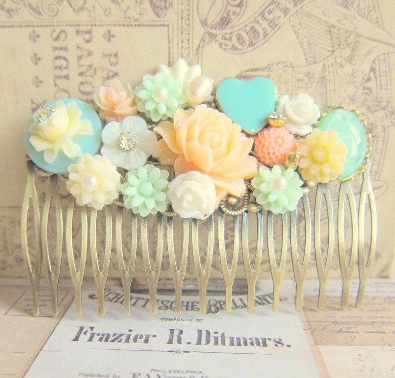 زفاف - Wedding Hair Accessories Bridal Hair Comb Soft Orange Turquoise Peach Mint Green Hair Piece Bridesmaid Hair Pin Maid of Honor Secret Garden