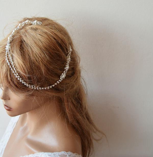 Mariage - Bridal Hair Accessory, Rhinestone and Pearl  headband, Wedding headband,  Bridal Headband