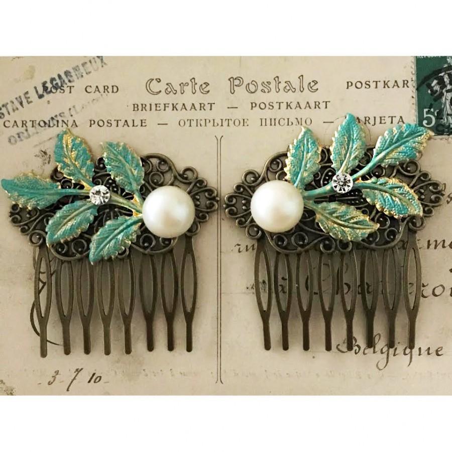 Mariage - Leaf Hair Comb, Pearl Hair Comb, Hair Comb Set, Bridal Hair Slide, Romantic Headpiece, Bridesmaid Gift, Woodland Wedding, Mint Hair Comb