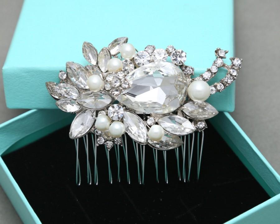 Hochzeit - Bridal Hair Comb, Wedding Hair Comb, Large Rhinestone Marquise Crystals Hair Comb, Swarovski/Freshwater Pearl Hair Comb, Alligator Clip