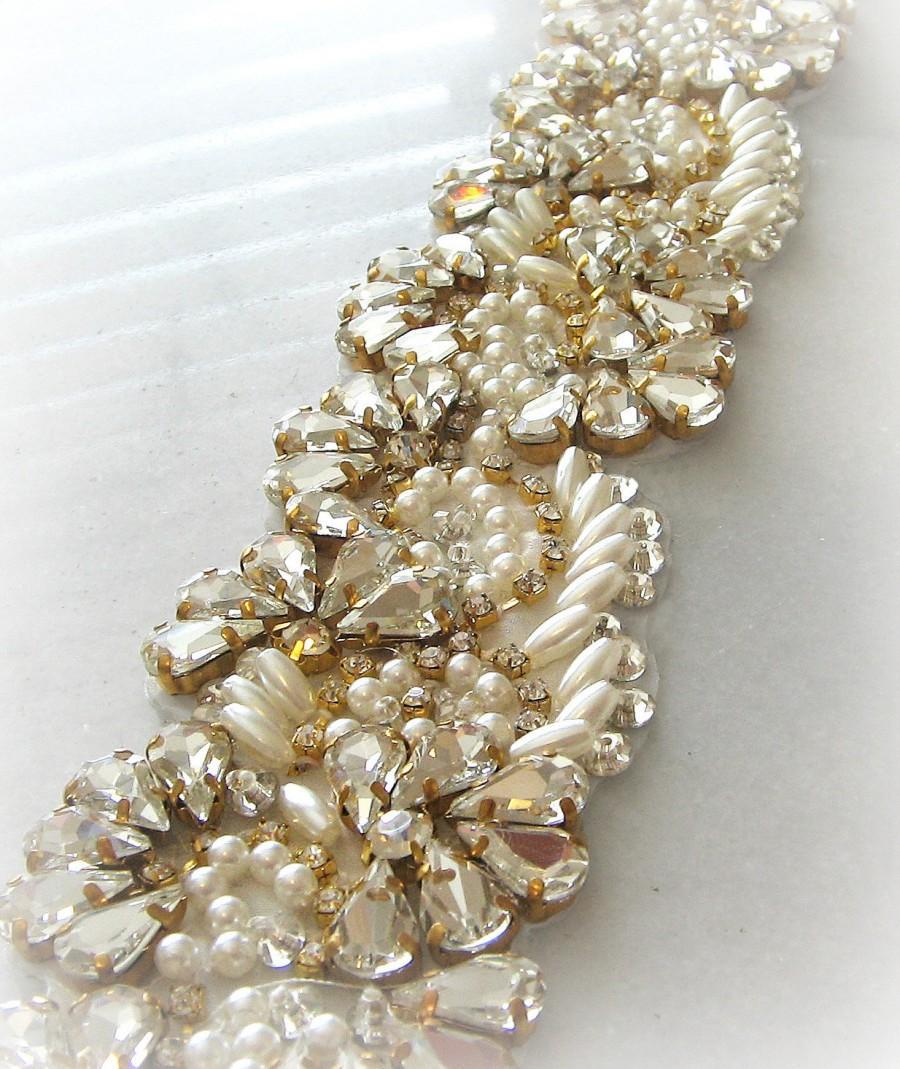 """Mariage - Gold Swarovski Crystal Trim with Pearls, Gold Beaded Sawrovski Rhinestone Bridal Applique for Wedding Gown or Sash, 24"""""""