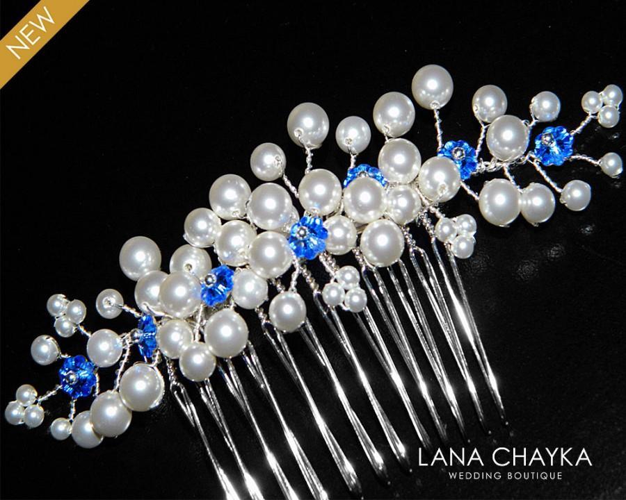 Свадьба - White Pearl Royal Blue Bridal Hair Comb Swarovski Pearl Crystal Floral Hair Piece Wedding Pearl Jewelry Sapphire White Pearl Bridal Comb