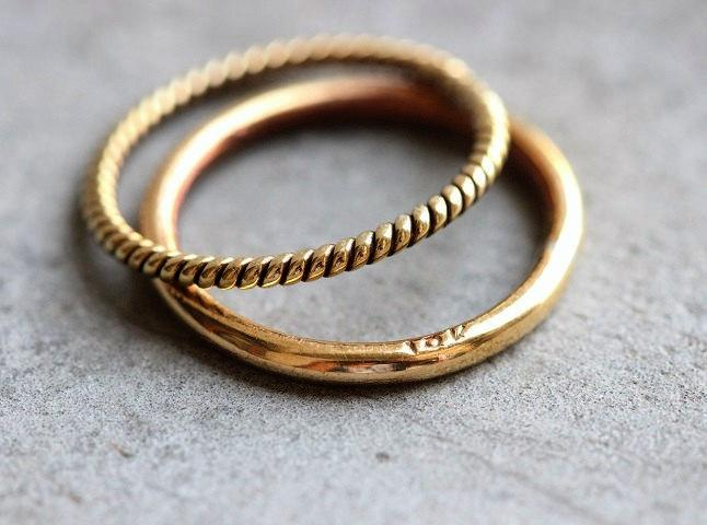 wedding band 18 kt yellow gold band ring stack rings